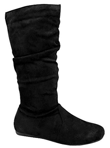 Wells Collection Womens Slouchy Boots Soft Flat to Low Heel Under Knee High