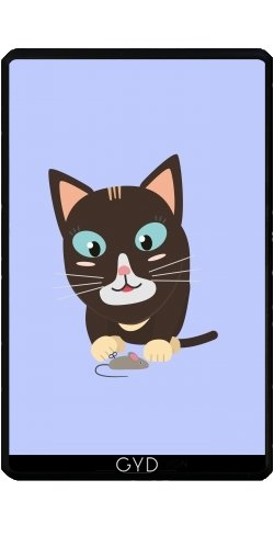 Hülle für Kindle Fire 7 pouces (2012 Version) - Katze Mit Spielzeug-Maus by ilovecotton
