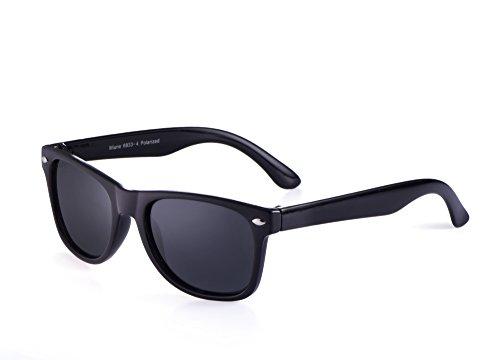 Miuno® Kinder Sonnenbrille Polarisiert Polarized Wayfare Etui 6833a (Schwarz)