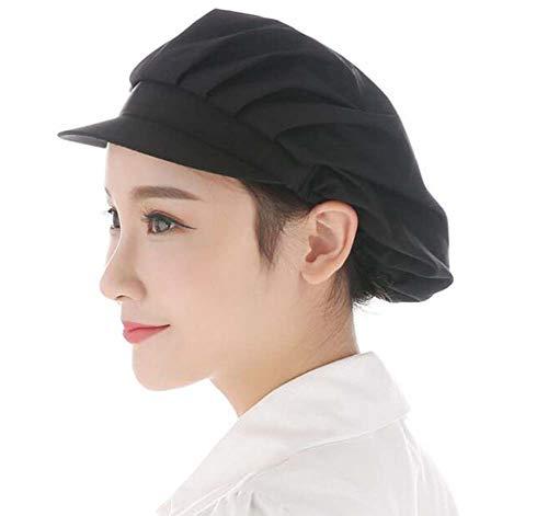 Nanxson Unisex Mob Caps Industrial Workshop Protective Working Elastic Kitchen Hats with Visor Pack of 3 CF9035 (L, Black)