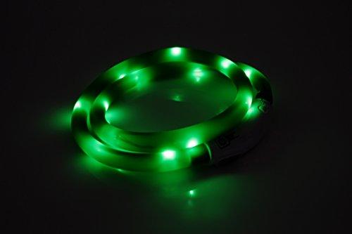 LED USB Halsband Silikon Hundehalsband Leuchthalsband für Hunde Haustier Katzen aufladbar per USB (Größe S-L auf 18-65 cm individuell kürzbar) in grün von der Marke PRECORN - 2