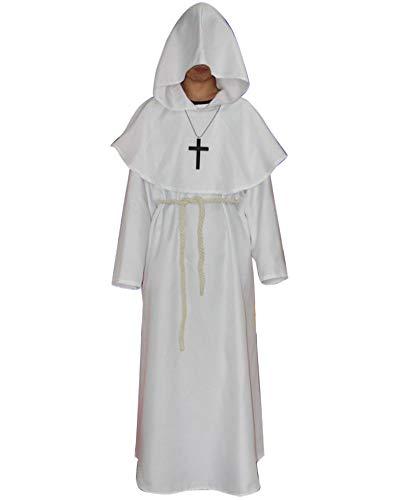 Liangzhu Mönch Mittelalterlich Mit Kapuze Mönch Renaissance Priester Robe Kostüm Halloween Cosplay Costume Weiß XL