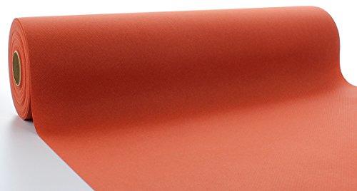 Sovie HORECA Linclass® Airlaid Tischläufer 40 cm x 24 m | Tischdecken-Rolle stoffähnlich | praktische Einmal-Tischdecke für Hochzeit oder Partys | Terrakotta-Orange