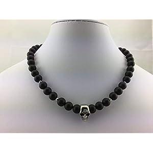 coole Halskette Perlenkette aus Onyx Perlen schwarz matt für Herren Männer mit Skull Totenkopf Schädel Totenkopfschmuck…