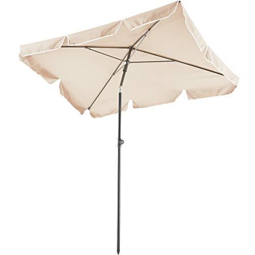 TecTake 800683 Parasol rectangulaire, de Balcon de Plage, inclinable et réglable, Protection UV 50+, 200 x 125 x 235 cm - Plusieurs Coloris - (Beige | no. 403136-2)