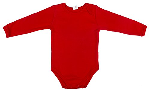 Jandaz Baby Jungen (0-24 Monate) Body rot RED LONG SLEEVE 80CM/12-15 MONTHS