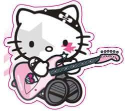 sticker autocollant mac valise voiture portable- hello kitty guitar musique NEUF