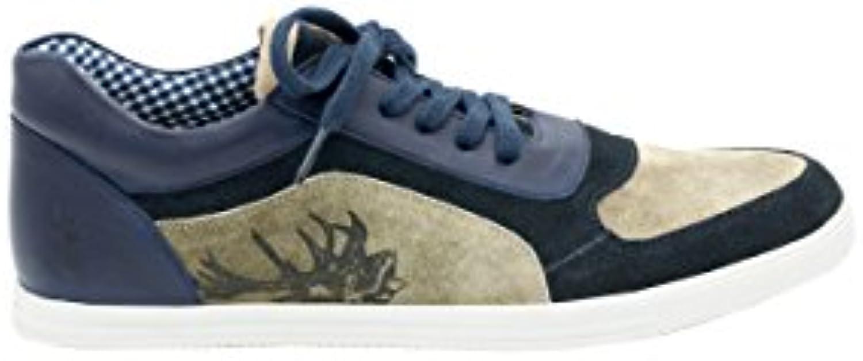 Trachten Herren Sneaker   IMANUEL   Blau  Braun