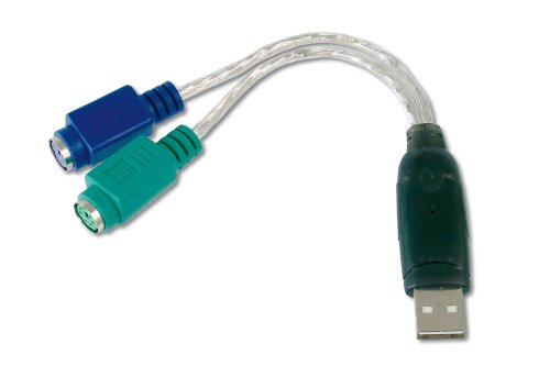 DIGITUS USB zu PS/2 Adapter, 2 X Mini-Din 6 Buchse, USB A Stecker (Ps 2 Usb Maus-adapter)
