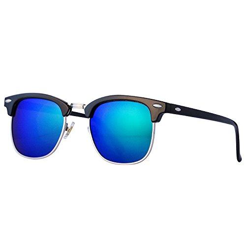 Pro Acme Klassische Halbrand polarisierte Sonnenbrille Clubmaster mit Metallnieten (Green Mirrored Lens, 52)