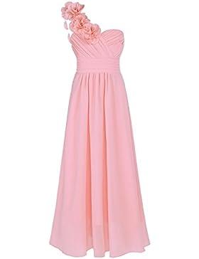 iEFiEL Vestido Largo Elegante de Flores para Niña (4 a 14 años) Vestido de Gala Princesa Fiestas Confortable