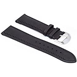 WatchAssassin Rubberized Suede Black Watch Strap with ZigZag Stitch 20 22 24mm including strap