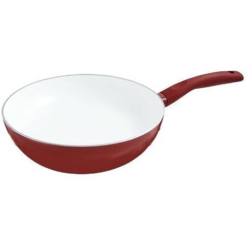 Colore: Rosso cinese CookSpace ®-Wok a induzione, diametro 28 cm, colore: bianco Superficie con rivestimento in ceramica, antiaderente, 100% senza PTFE & PFOA) Healthy Choice
