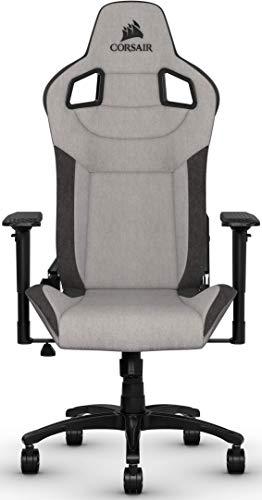 Corsair T3 Rush, Polyester Stoff Gaming Büro Stuhl (Atmungsaktivem Weichen Stoff, Gepolsterten Nackenkissen, Lendenstütze aus Memory-Schaumstoff, 4D-Armlehnen, Leich Montieren) grau/schwarz