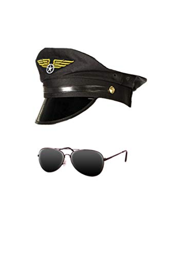 Kostüm Set 2-teilig Pilotenmütze Pilotenbrille Flieger Verkleidung Zubehör Offizier ()