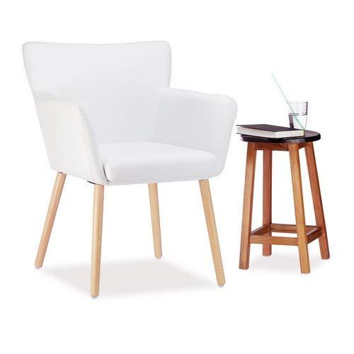Relaxdays Polstersessel Design, Stoffbezug, weich gepolstert, bequem, gemütlich, Sessel, HxBxT: 84 x 62 x 56 cm, weiß (Weiß Tv-wagen)
