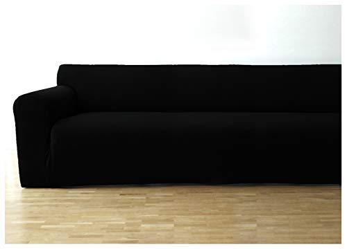 Bellboni copridivano, coprisofà, copridivano elasticizzato per una vasta gamma di divanetti a 3 posti, nero