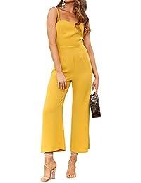 66c0bd67c5f9 Silvia s Wand Women Jumpsuits Spaghetti Strap Backless Jumpsuit High Waist  Wide Leg Long Pants Rompers