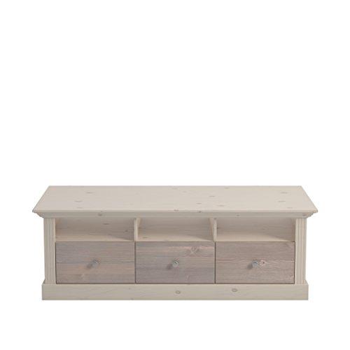 Steens Monaco TV Bank, 3 Schubladen und 3 Fächer, 145 x 49 x 55 cm (B/H/T), Kiefer massiv, weiß grau