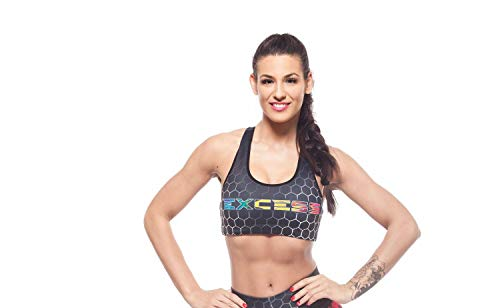 Excess Sujetador Deportivo para Mujer Shock Absorber Top Push Up Fitness Yoga Pilates Running Gimnasio Maillot de Ciclismo 3D de Fiesta Mujer Sexy Italiano Camisetas Dim Alas Multicolor S