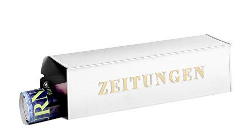 BURG-WÄCHTER, Zeitungsbox mit geprägeter Schrift, Metall, 808 W, Weiß