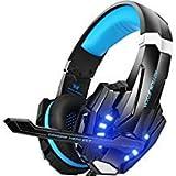 BIBOX G9000 Stereo-Gaming-Headset, 3,5 mm Klinkenstecker mit Mikrofon und LED-Licht, für PC/PS4/Xbox One/Laptop/iPad, Blau/Rot blau blau