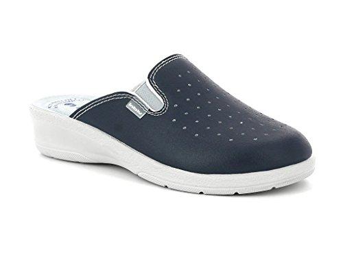 Inblu sanitarie pantofole ciabatte blu donna sabout pelle comfort anatomico elastico