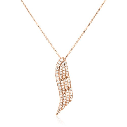HISTOIRE D'OR - Collier Aile Or Rose et Oxydes 42cm - Femme - Or rose 375/1000