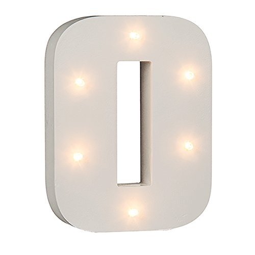 Beleuchtete Zahlen (0 - 9) mit LED-Birnchen, weiß, ca. 16 cm Höhe (0)