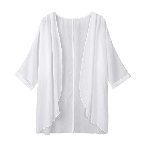 MRULIC Kimono Cardigan Damen Sommer und Herbst Urlaub Strand Capes Sheer Loose(Weiß,EU-34-40)