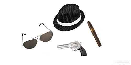 Seemeinthat Ganster-Set im Stil der 20er-Jahre, Pistolenbrille, Pistole, - Magnum Pi Kostüm
