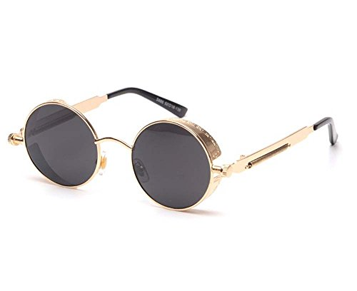 Arctic Star Vintage Steampunk Sonnenbrille, Gold Frame Black Lens