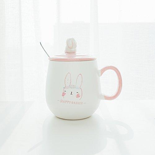 Damlonby Caricature avec capuchon avec mark en céramique cuillère tasse tasse café thé garçons tasse petit-déjeuner, le lapin blanc