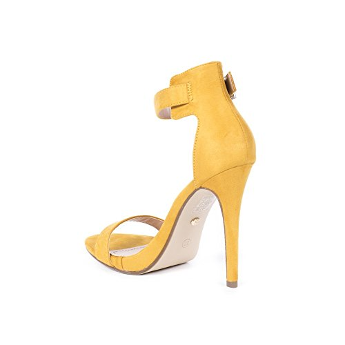 Ideal Shoes Sandales Effet Daim Gemme Jaune