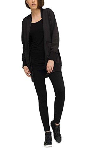 trueprodigy Casual Damen Marken Sweatjacke einfarbig Basic, Oberteil cool und stylisch mit Rundhals (Langarm & Slim Fit), Sweat Jacke für Frauen in Farbe: Schwarz 2573503-2999 Black