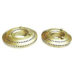 Rohvik Brass LPG Gas Stove Burner Cap Set of 2 ( Big & Small ) Suitable For All Brands Gas Stove