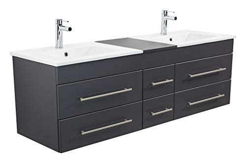 Emotion Meuble Salle de Bain Double Vasque Roma XL Anthracite satiné
