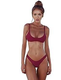 heekpek Bikinis Mujer 2019 Brasileños Bañador Ropa de Baño Push Up Dos Piezas con Relleno Traje de Baño de Tubo Color Liso