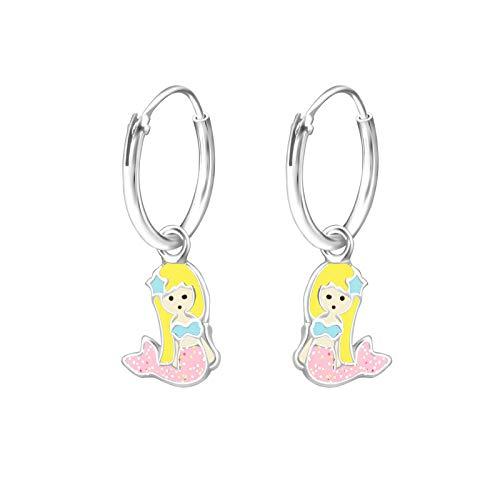 Tata Gisele© Kinder-Ohrringe aus Sterling-Silber 925/000 rhodiniert und Epoxidharz - Creole mit kleiner Meerjungfrau mit Schwanz rosa Glitzer - 22 mm -