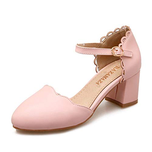 ring Shoes Women Thick High Heel Ruffles Sandals Women Ankle Strap Candy Color Dating Heels Shoes Pink 9 ()