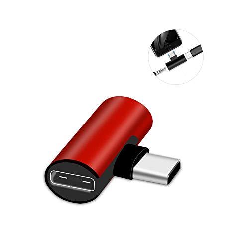 AOLVO 2 in 1 USB C/Typ C auf 3,5 mm Klinke, AUX Audio-Kopfhörer-Adapter, Splitter-Kabel, Mikrofon-Kopfhörerbuchse & Schnellladekonverter für Huawei P20, XiaoMi und andere Typ-C-Geräte (rot) rot (Usb-mikrofon-kopfhörer-splitter)