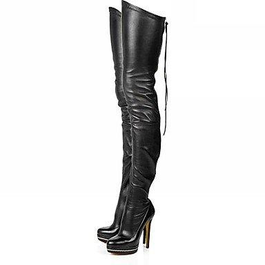 Femmes Chaussures Pu (polyuréthane) Automne Hiver Bottes Bottines Stiletto Bout Rond Cuisse-haute Bottes Zipper Pour Soirée Et Fête Noir