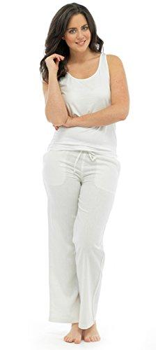 Damen Frauen voller Länge Leinen Hose mit Gummizug in der Taille Gr. 42, Weiß - Weiß (Weiß Hose Leinen Womens)