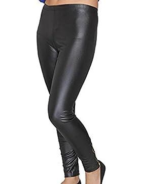 Señoras de las mujeres del tobillo con cremallera brillante húmedas Look del ajustado de polainas flacas negras...