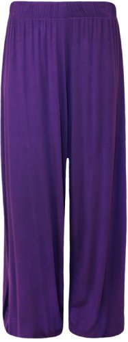 Plus Size 24-26 Purple Flared Palazzo Pants for Ladies