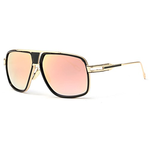 kimorn Sonnenbrille für Herren Retro Goggle Metallrahmen Classic Eyewear AE0336 (Gold&Rot, 62)