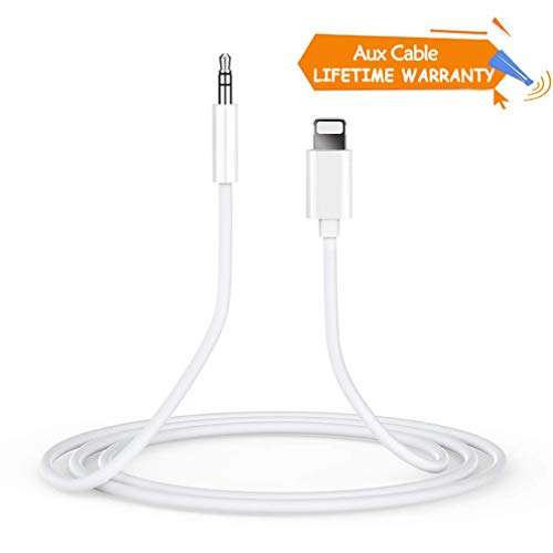 AUX Kabel Kompatibel mit iPhone 8 Auto AUX Kabel zu 3,5 mm AUX Adapterkabel Verbinder Kopfhörer 3,5 mm AUX-Kabel für iPhone 7/7Plus / X/XS iPad iPod Kopfhörer Home/Auto Stereo Lautsprecher - Weiß Iphone-ipod-kabel