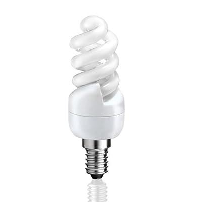 E14 Energiesparlampe in kompakter Spiralform von parlat (warm-weiß, 230 Volt AC, super mini, Ersatz für 47 Watt Glühlampe, Leuchtmittel, ESL, Kompaktleuchtstofflampe, 230V)