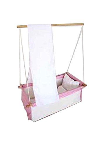 Baby Schaukel Hängewiege Hängematte Wiege Stubenwagen Komplett-Set mit Seilen Himmelstange Himmel und Wäscheset PINK ROSA (Stubenwagen Schaukeln)