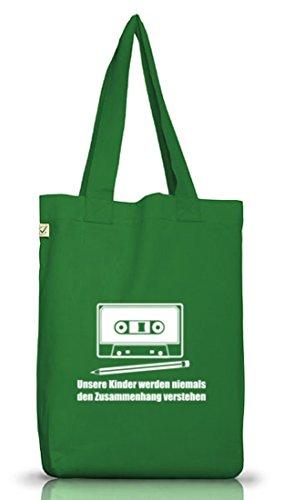 Shirtstreet24, Bleistift - Kassette, Jutebeutel Stoff Tasche Earth Positive (ONE SIZE) Moss Green
